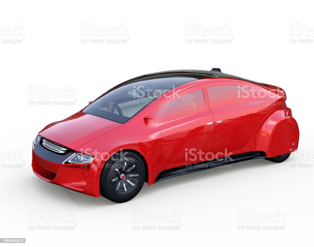 Red autonomous vehicle isolated on white background vector art illustration