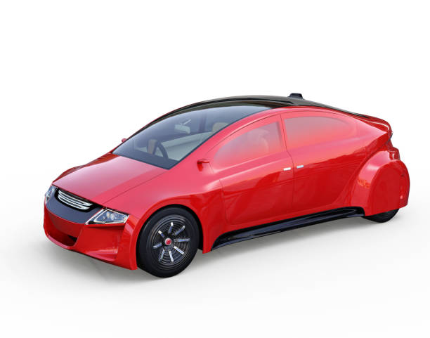 red autonomous vehicle isolated on white background - self driving cars stock illustrations, clip art, cartoons, & icons