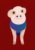 Red background pig illustration, new year card, greeting card, gift