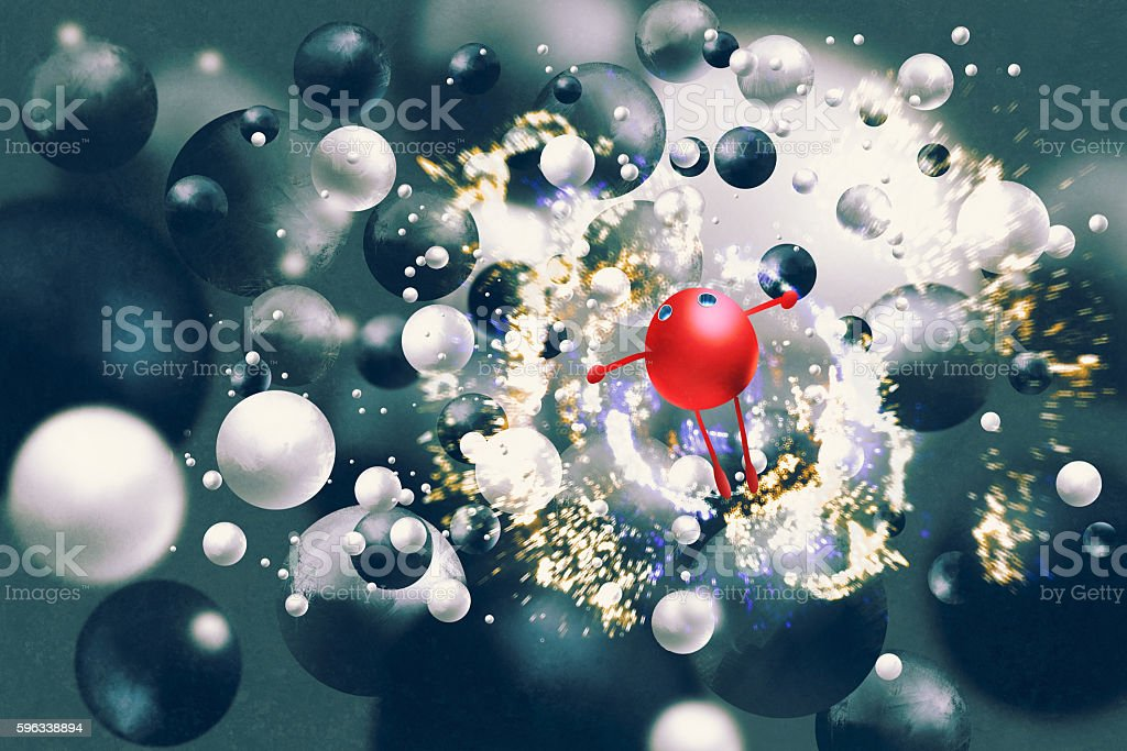 red ball raising arms amongst black&white balls Lizenzfreies red ball raising arms amongst blackwhite balls stock vektor art und mehr bilder von acrylmalerei