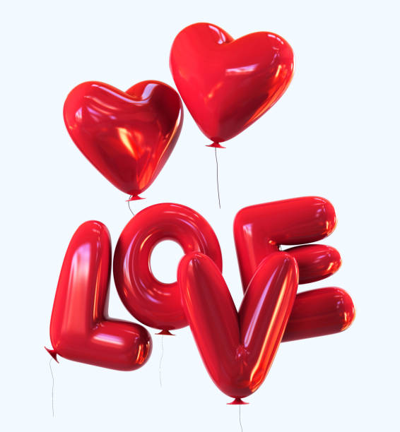 Red Balloons with Hearts. LOVE message. Valentine symbol - ilustración de arte vectorial