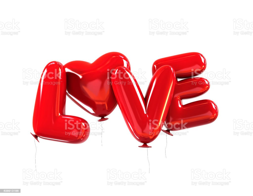 Red Balloons with LOVE message. Valentine symbol vector art illustration