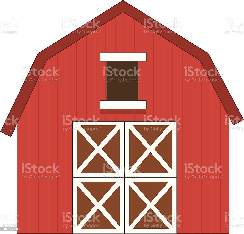 red barn vector art illustration