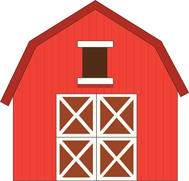 Red Barn Vector Art Illustration