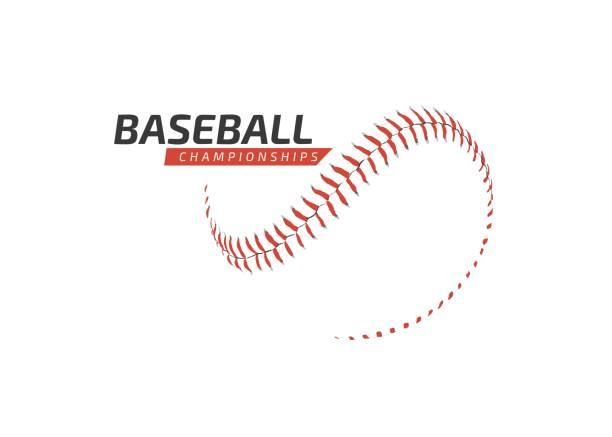 Red baseball ball logo - Championship - Sports baseball competition vector art illustration