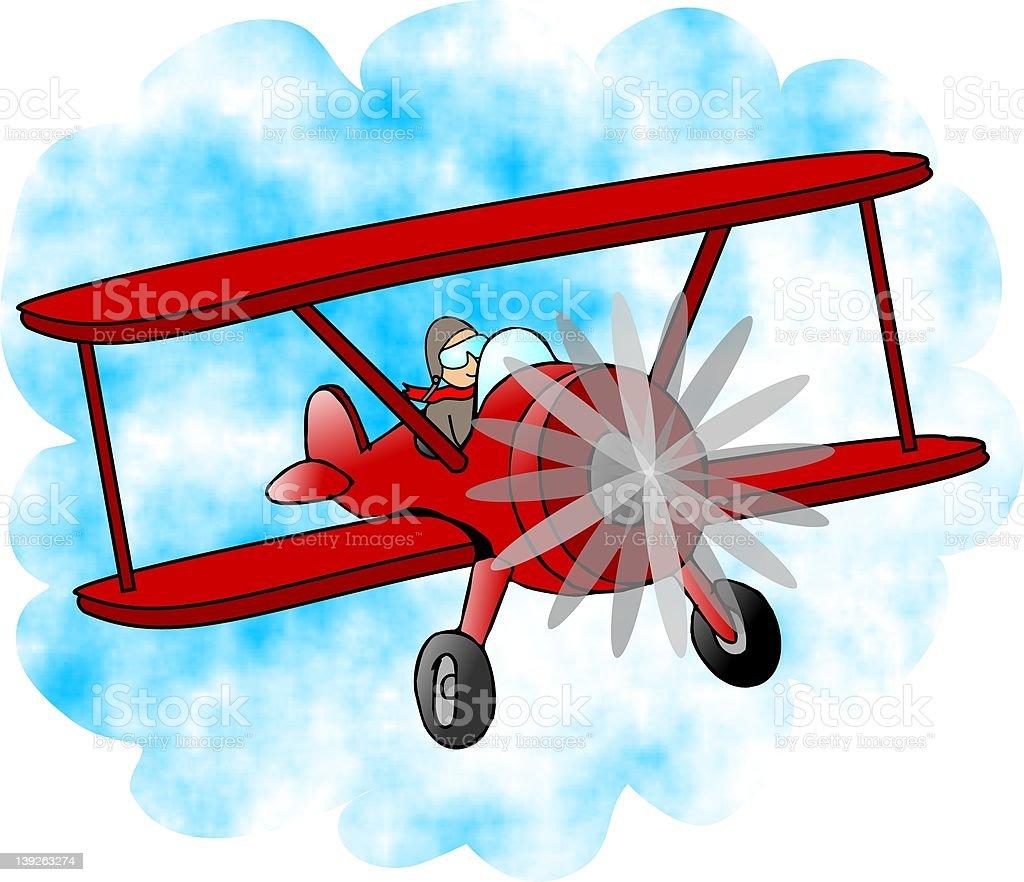 Red BiPlane royalty-free stock vector art
