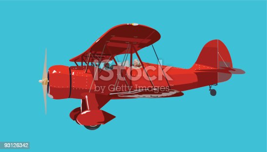 istock Red Biplane 93126342