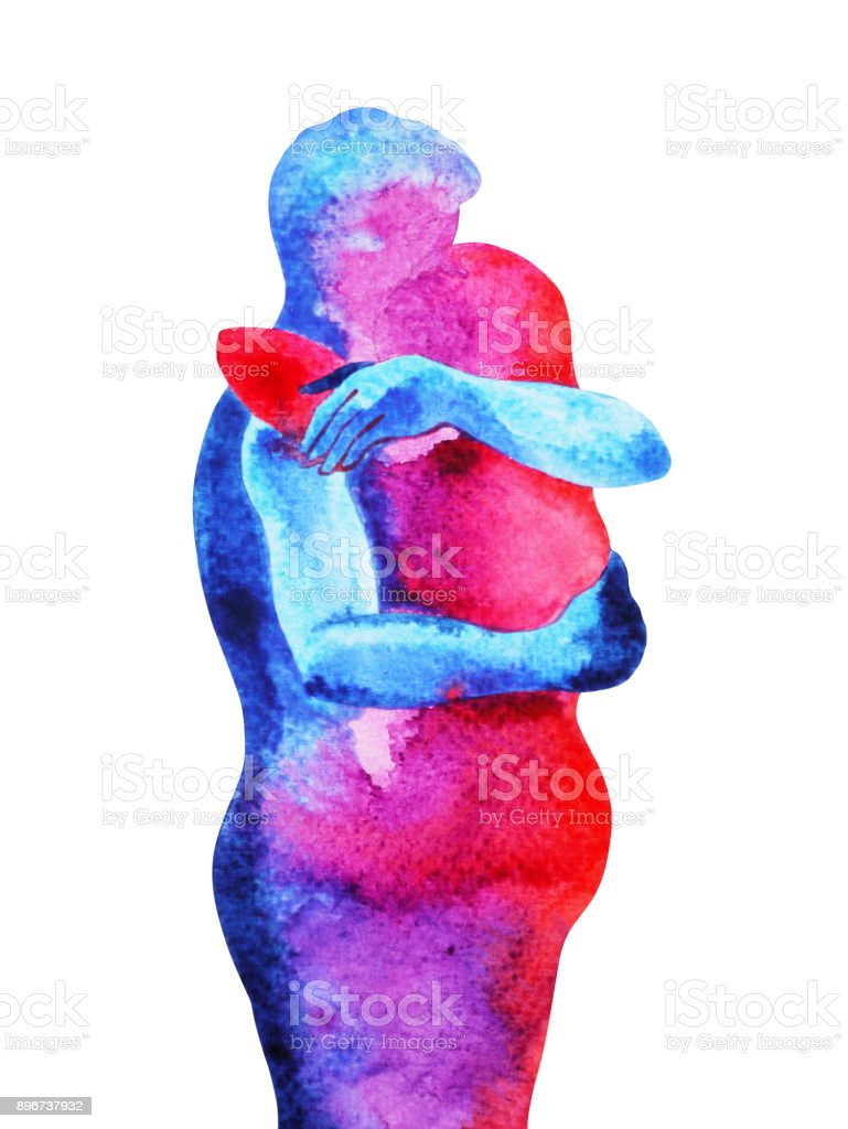red, blue man, woman couple lover watercolor painting hand drawn with clipping path vector art illustration