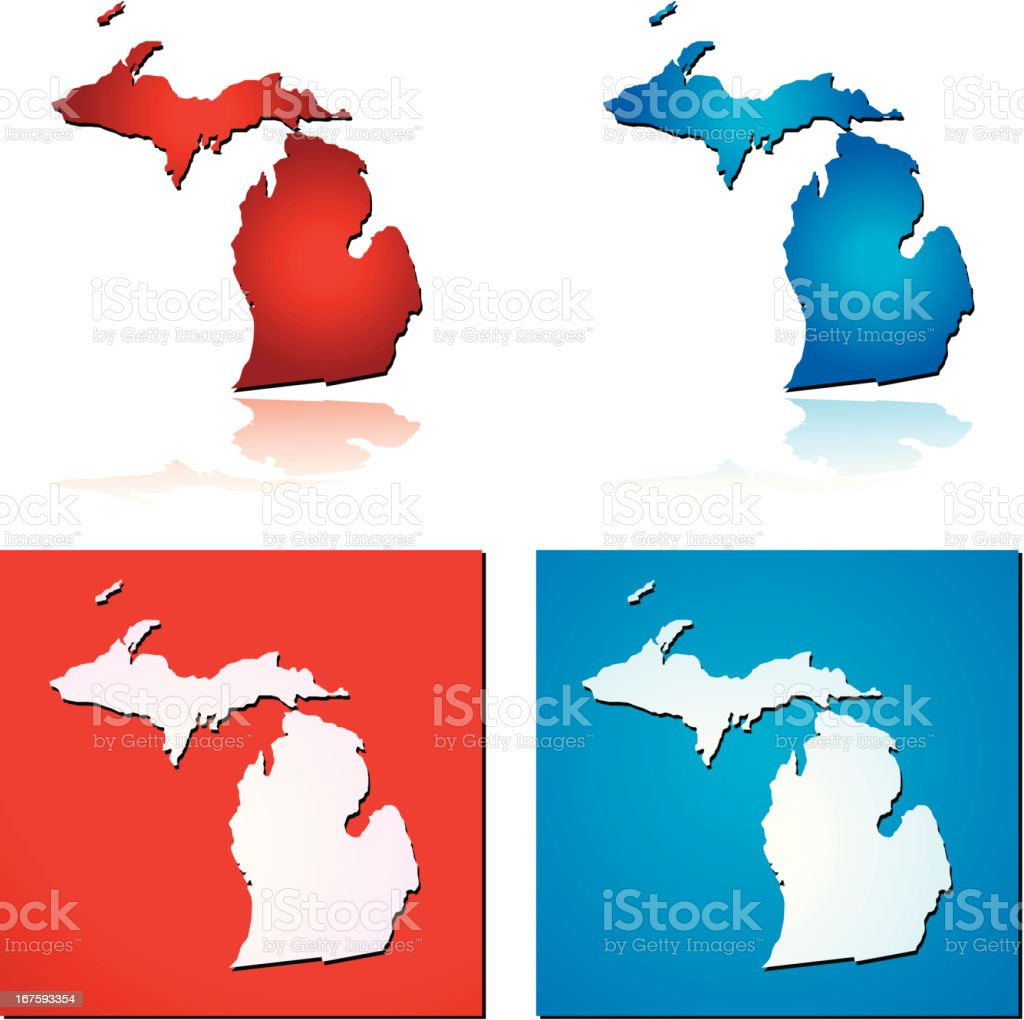 Red Blue Michigan royalty-free stock vector art