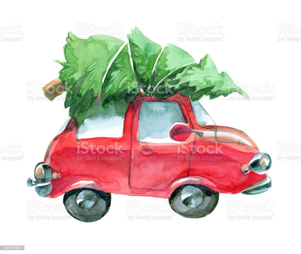 Auto Weihnachtsbaum.Rotes Auto Mit Grünen Weihnachtsbaum An Der Spitze Stock Vektor Art Und Mehr Bilder Von Altertümlich