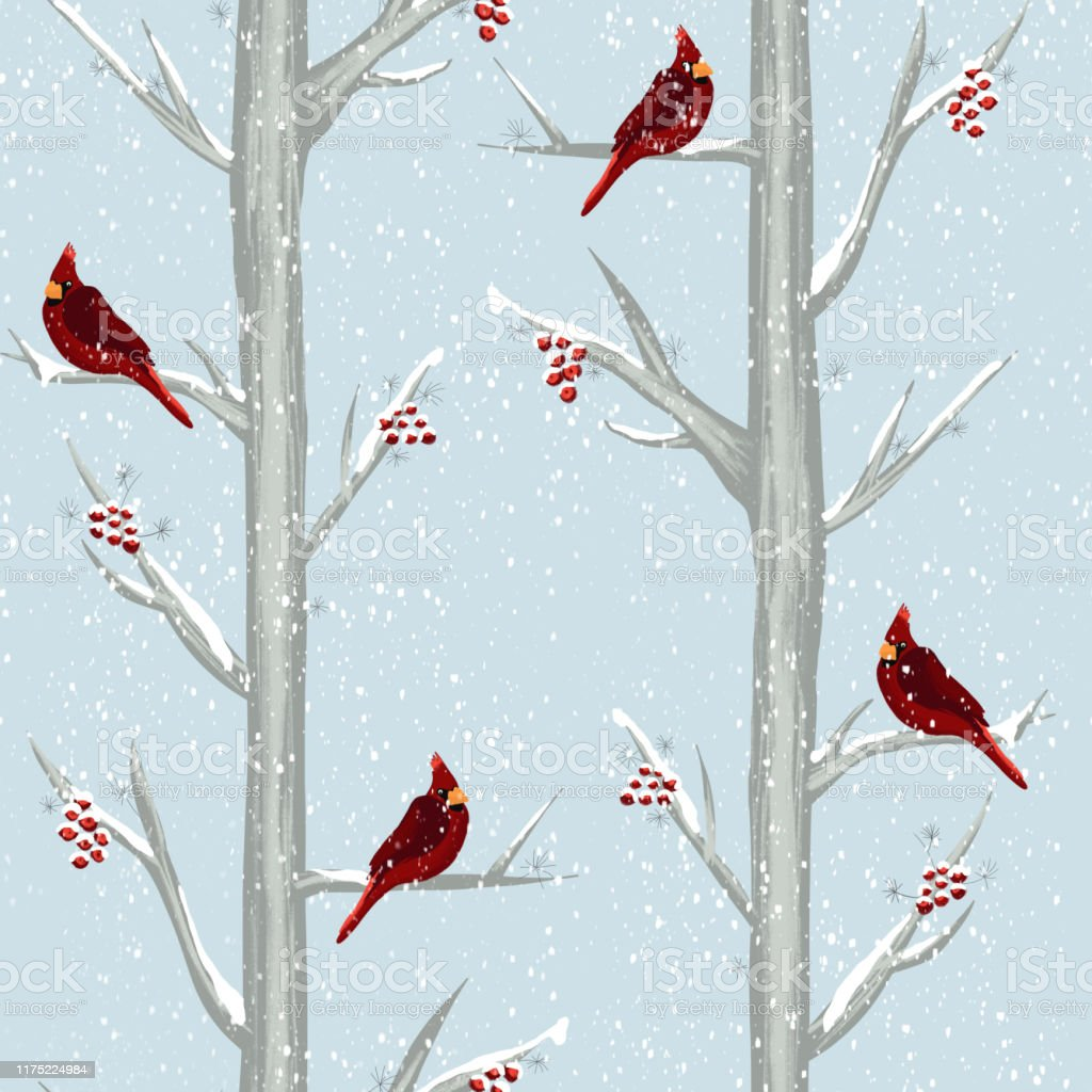 Red Cardinal Bird In Winter Forest Seamless Pattern Hand Drawn Illustration Christmas Holiday Background Birds Sitting On Snowy Trees With Holly Berries For Gift Wrap Christmas Decoration Fabric Stock Illustration Download