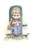 red cat in clothes kind near the door watercolor illustration image on a white background