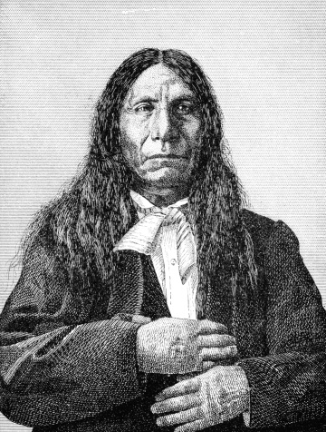 An engraved illustration of Red Cloud a native American Indian and a chief of the Sioux, from a Victorian book dated 1880 that is no longer in copyright