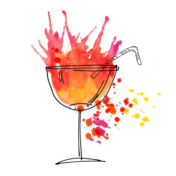 bildbanksillustrationer, clip art samt tecknat material och ikoner med röd cocktail splash akvarell illustration. måla teckningar. - vin sommar fest