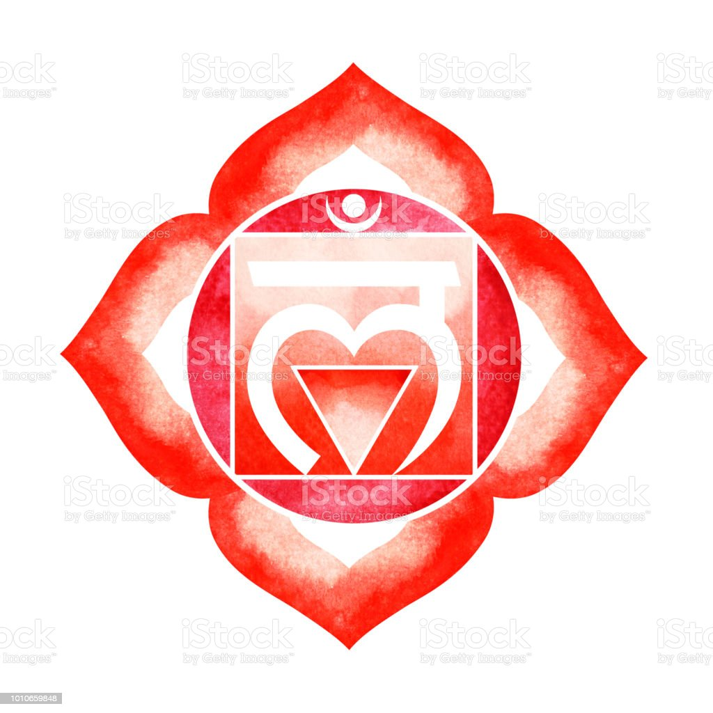 Red Color Of Chakra Symbol Root Concept Flower Floral Watercolor