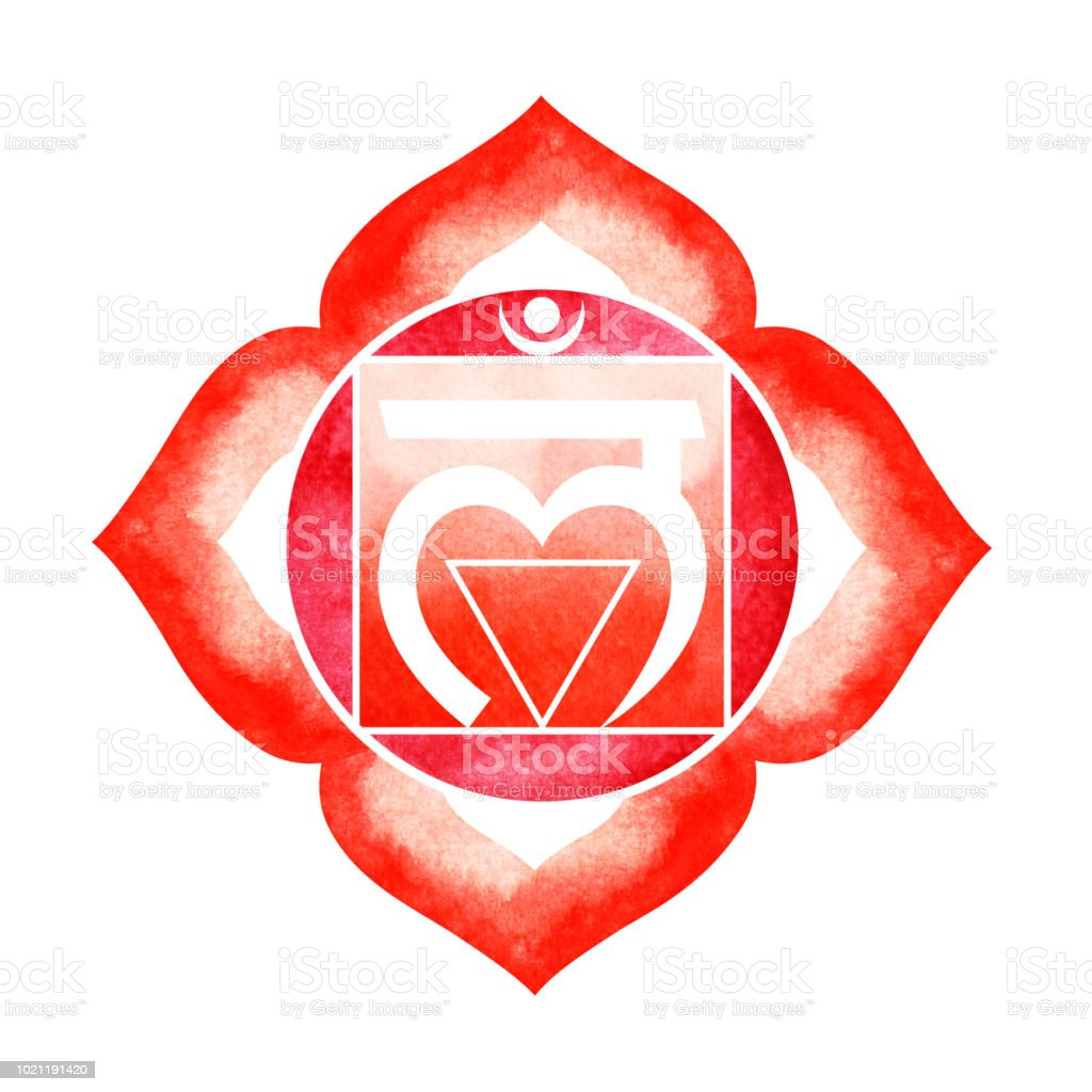 Red Color Of Chakra Symbol Root Concept Flower Floral Watercolor ...