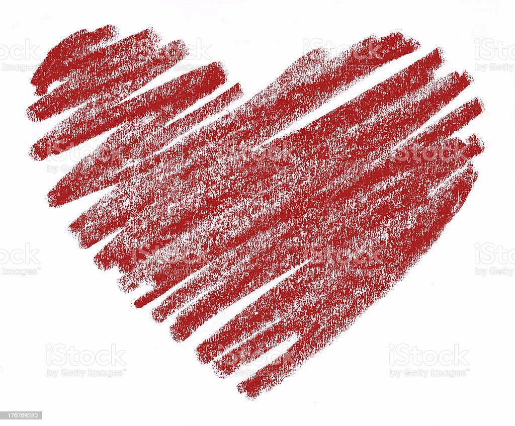 Red Crayon Heart Hand-drawn by a Child vector art illustration