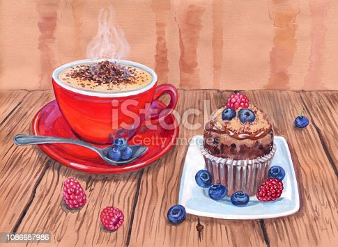 Red cup of coffee, cupcake with raspberries and blueberries, still life, hand drawing.