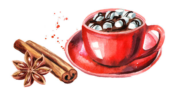 Red Cup of hot chocolate with marshmallow, cinnamon stick and star anise. Watercolor hand drawn illustration isolated on white background Red Cup of hot chocolate with marshmallow, cinnamon stick and star anise. Watercolor hand drawn illustration isolated on white background hot chocolate stock illustrations