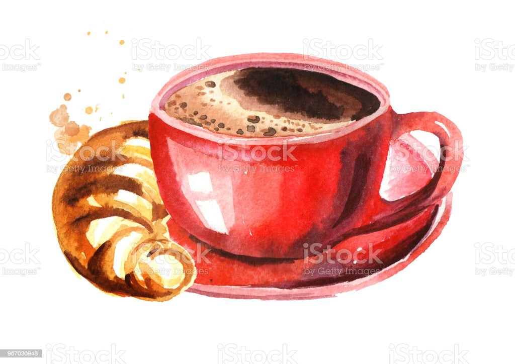 Red cup of morning coffee and croissant. Watercolor hand drawn illustration isolated on white background vector art illustration