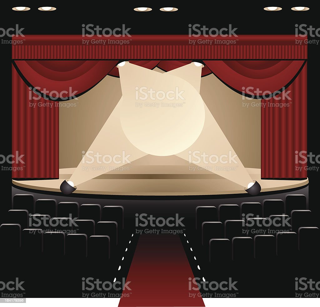 Red Curtain Theatre Stage vector art illustration