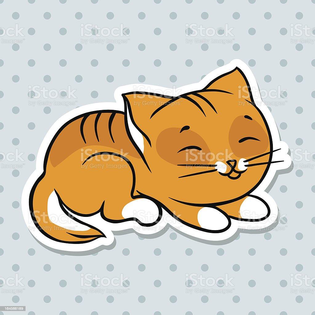 レッドかわいい面白い猫の眠りをお届けしますベクトルイラスト