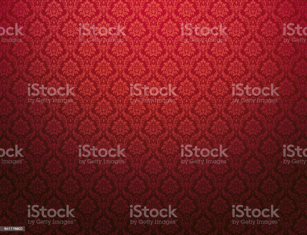 Plano de fundo padrão do damasco vermelho - ilustração de arte em vetor