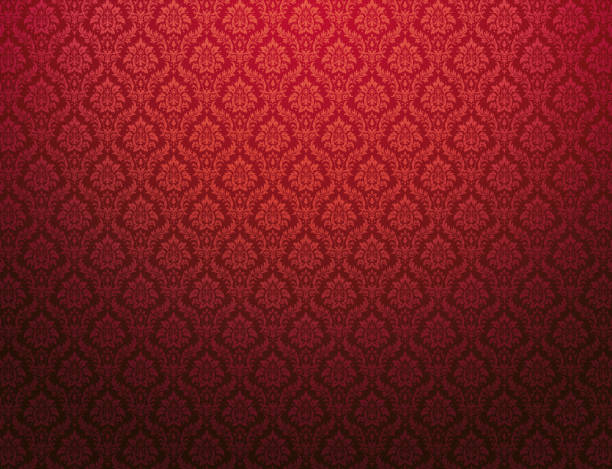 Red damask pattern background Red damask wallpaper with floral patterns tapestry stock illustrations