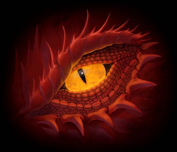 red dragon eye - dragon eye stock illustrations, clip art, cartoons, & icons