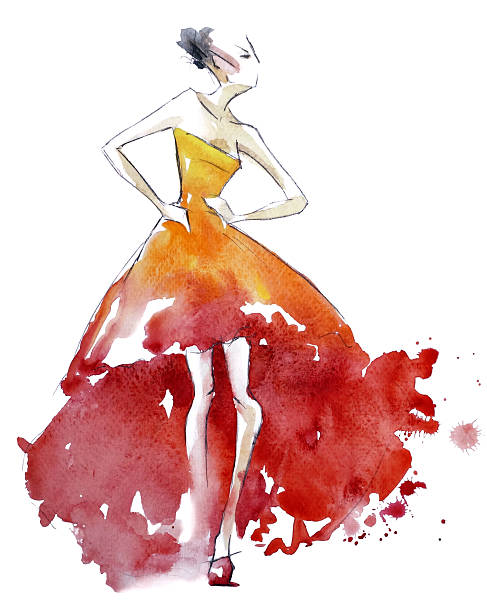 Red dress fashion illustration, watercolor painting vector art illustration