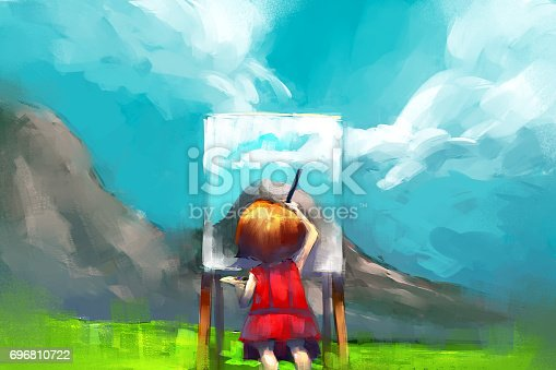 digital painting of red dress girl painter working outdoors in the mountain, acrylic on canvas texture