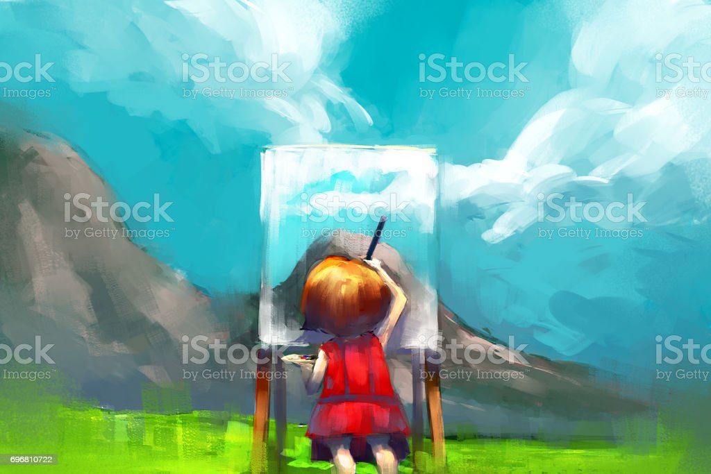 red dress girl painter working outdoors in the mountain vector art illustration