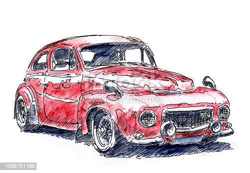 istock Red European Classic Car Ink Drawing and Watercolor 1056751166