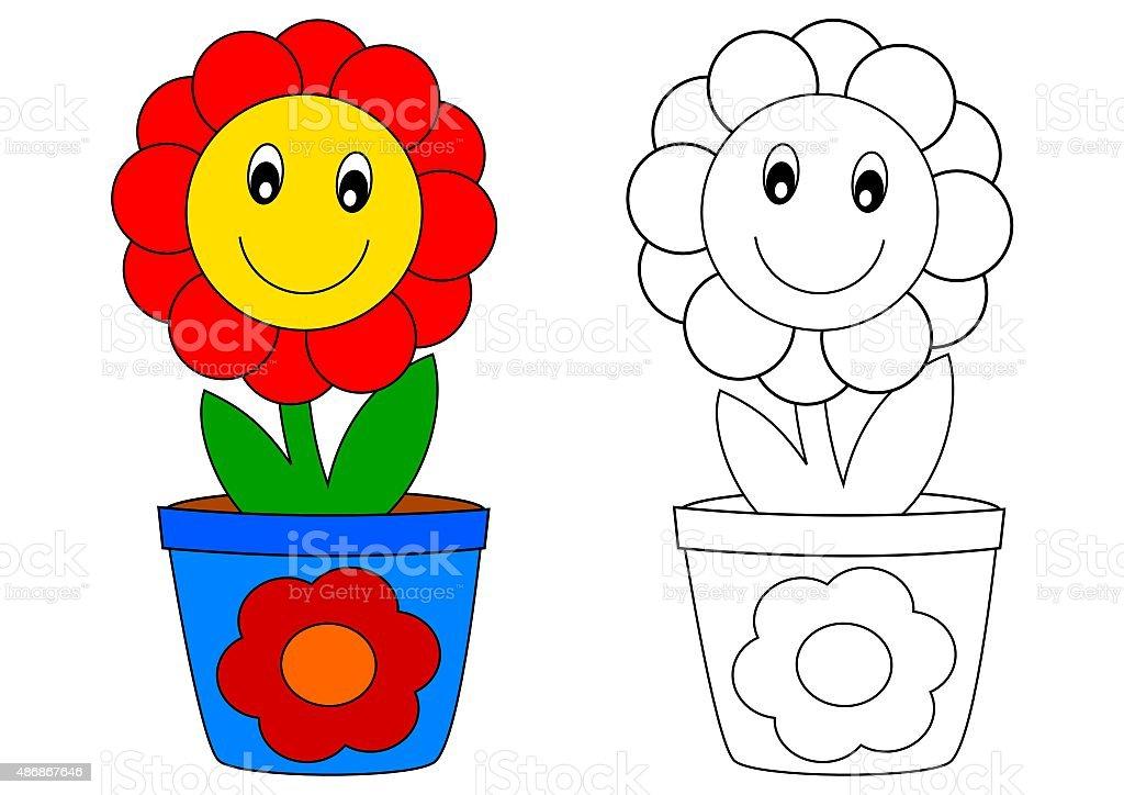 Coloriage Fleur Pot.Rouge Fleurs Dans Un Pot Bleulivre De Coloriage Vecteurs Libres De
