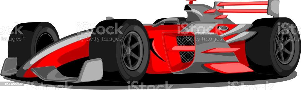 Red Formula One Car. vector art illustration
