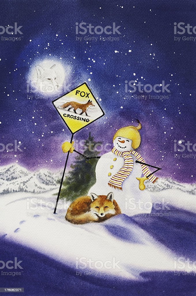 Red Fox And Snowman royalty-free stock vector art