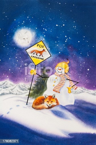 A whimsical watercolor painting of  a red fox and crossing guard snowman.