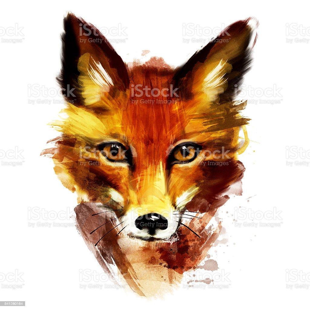 Zorro rojo Retrato de acuarela - ilustración de arte vectorial