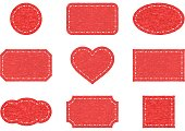 istock Red frame set with felt texture 1340440572