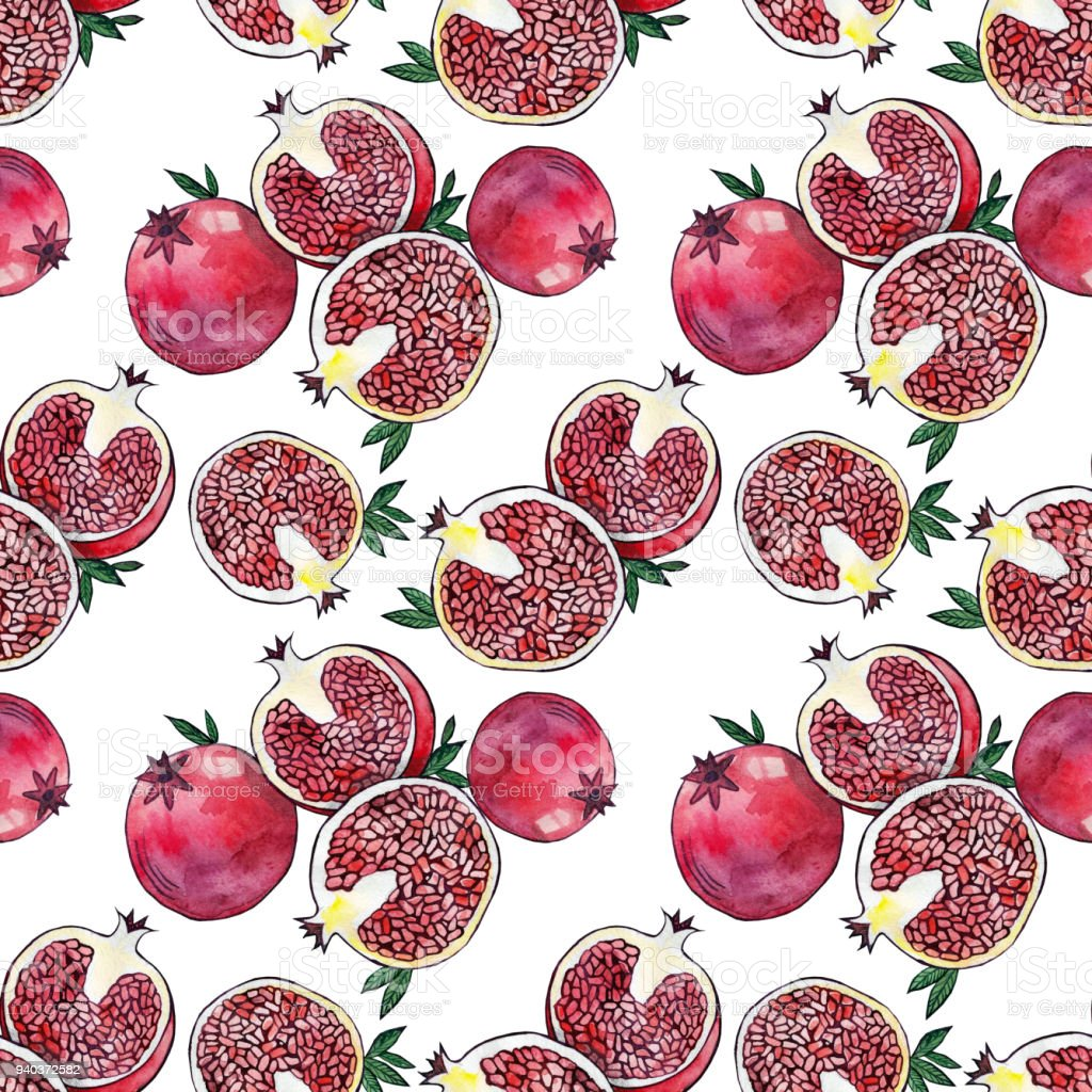 red fresh pomegranate pattern art food design seamless vitamin