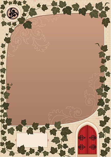 ilustrações de stock, clip art, desenhos animados e ícones de portão vermelho (fundo - ivy building