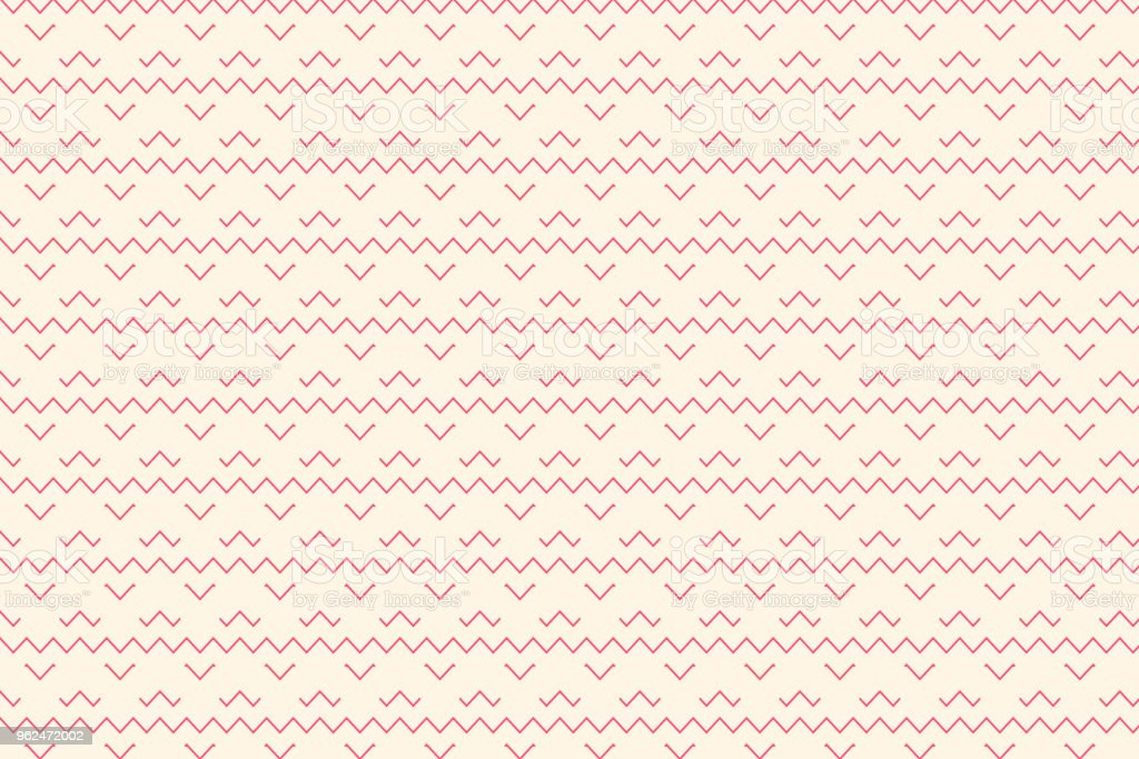 Red geometric and line pattern with zigzag shape on beige colour background vector art illustration