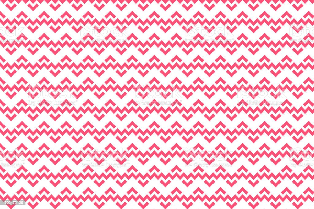 Red geometric and line pattern with zigzag shape on white background vector art illustration
