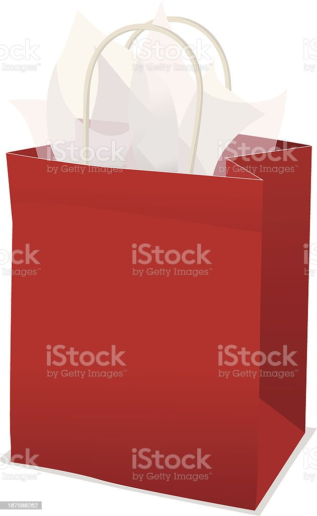 Red Gift Bag With Tissue Paper vector art illustration