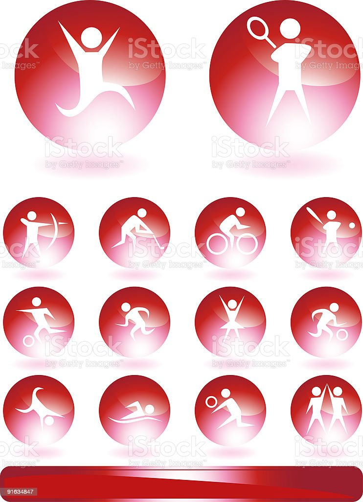 Red Glow Icon Set: Athletes royalty-free red glow icon set athletes stock vector art & more images of archery