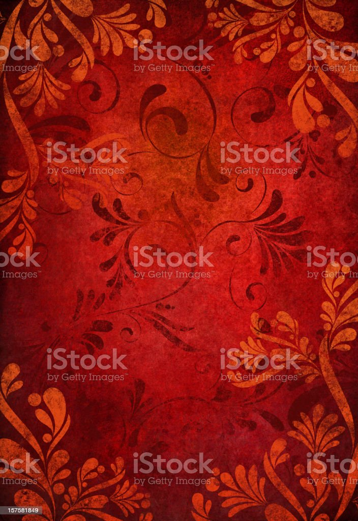 red grunge floral background royalty-free stock vector art