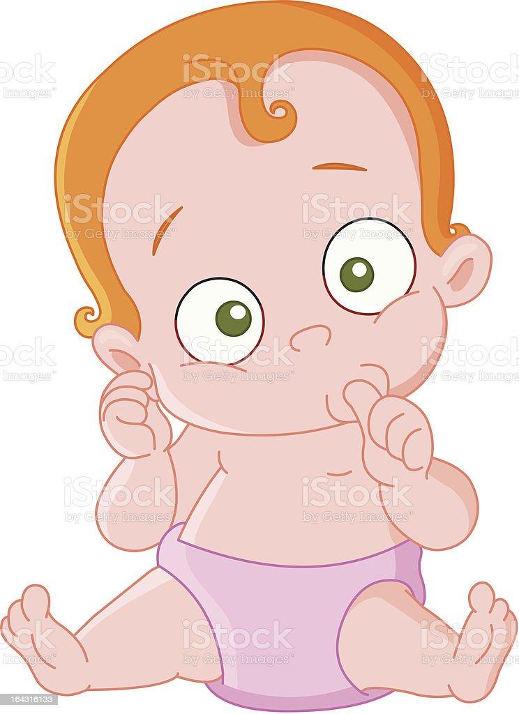 Red hair baby girl vector art illustration