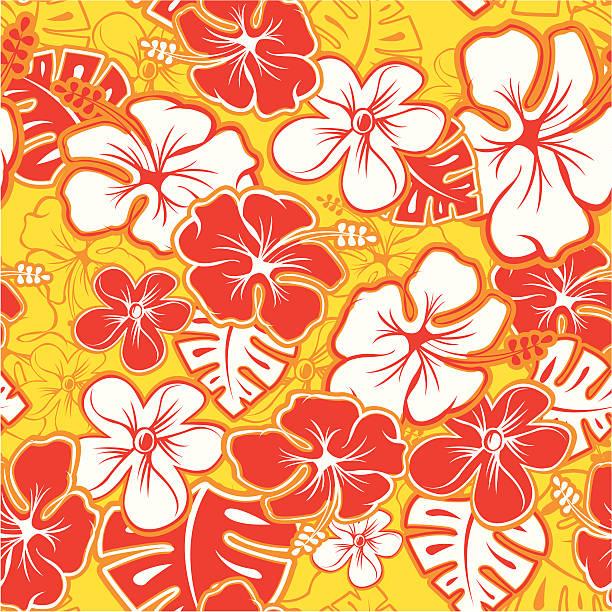 Red Hawaiian Pattern Vector Tileable Seamless Hawaiian Pattern hawaiian culture stock illustrations