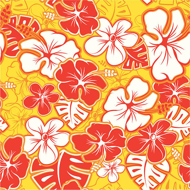 Red Hawaiian Pattern Vector Tileable Seamless Hawaiian Pattern hawaiian culture stock illustrations