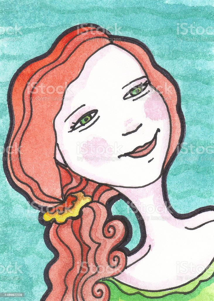Red Head Girl with Wavy Curly Hair, Water vector art illustration